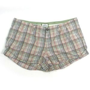 American Eagle Shorts Colored Plaid Pleated Front